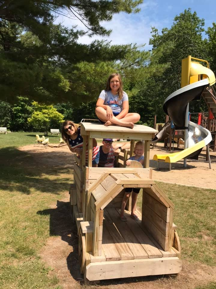 Kids on train at playground 2019