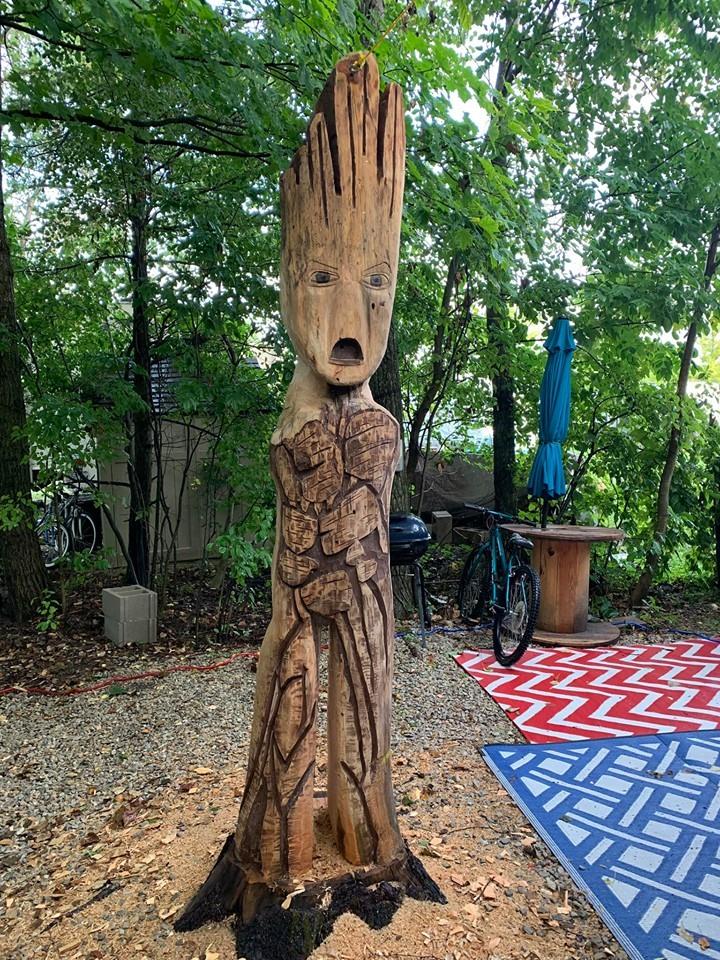 Camper carved Groot
