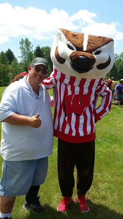 Camper posed with Bucky 2019