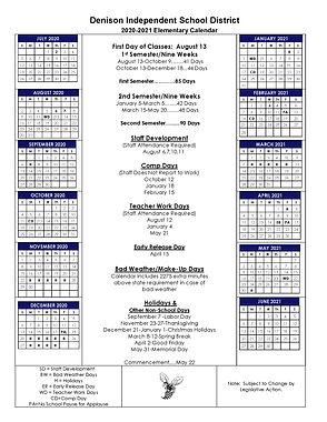 2020-2021 Revised Elementary Calendar 3-
