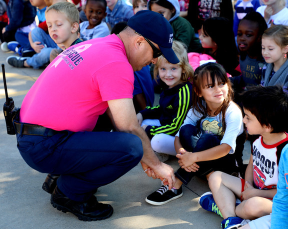 Local firefighters teach safety to Denison students