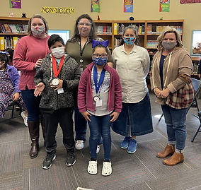 Mayes Elementary adminstrators and spellers from the spelling bee
