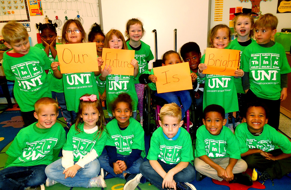 Terrell kindergarten students proudly display their Our Future is Bright sign