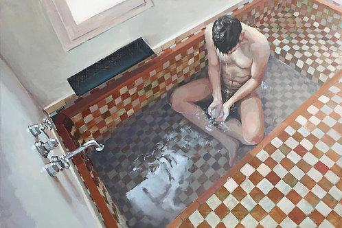 Jean Carlos Puerto. Hombre en la bañera