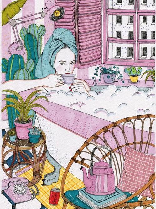 Ana Jarén. Café en baño