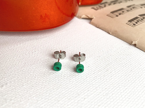 Green Guitar String End Ball Stud Earrings