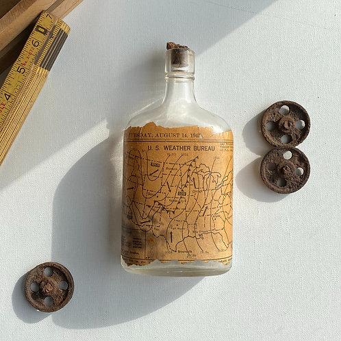 Vintage Pint Liquor Bottle with D&C 1945 Newspaper