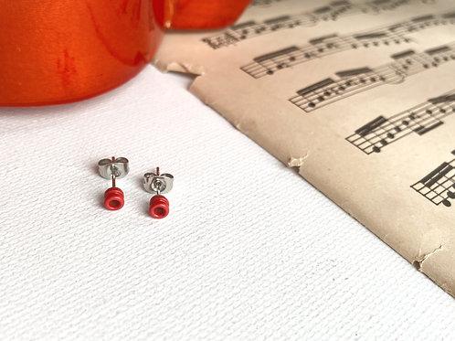 Red Guitar String End Ball Stud Earrings