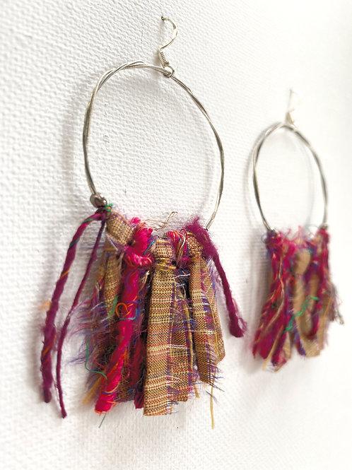 Guitar string hoops with silk fringe