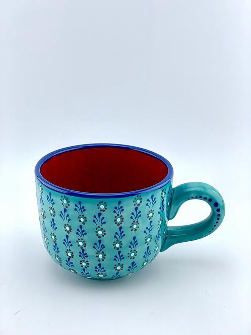 Turquoise mug rain a flower design