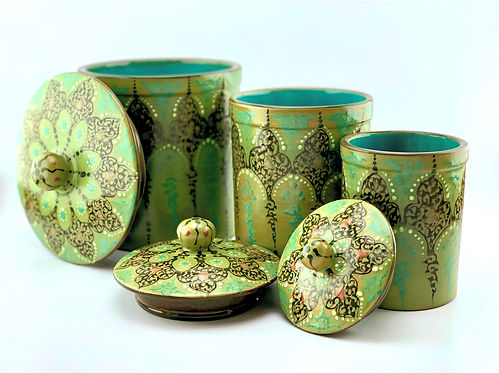 hand painted canister set. grate gift sor Moms. remodel yourkitchen with Art.