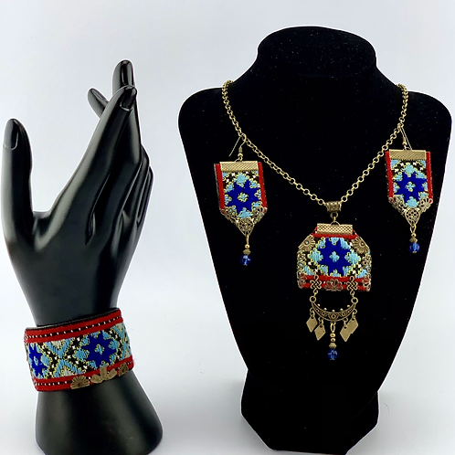 Handmade Balochi needlework jewelry set.