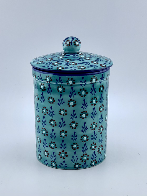 Small turquoise canister