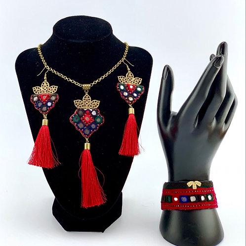 Handmade Balochi needlework jewelry set.