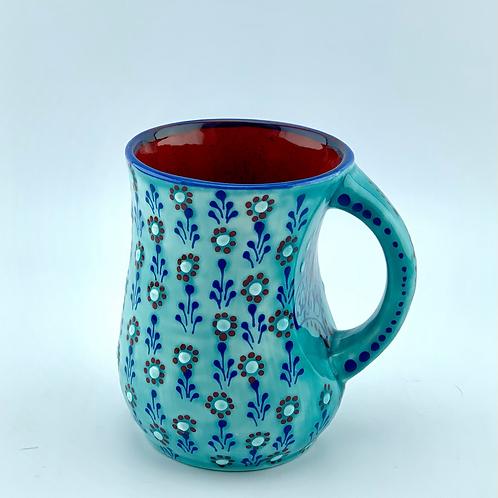 Turquoise mug rain of flowers
