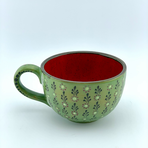 Green mug reign of flowers
