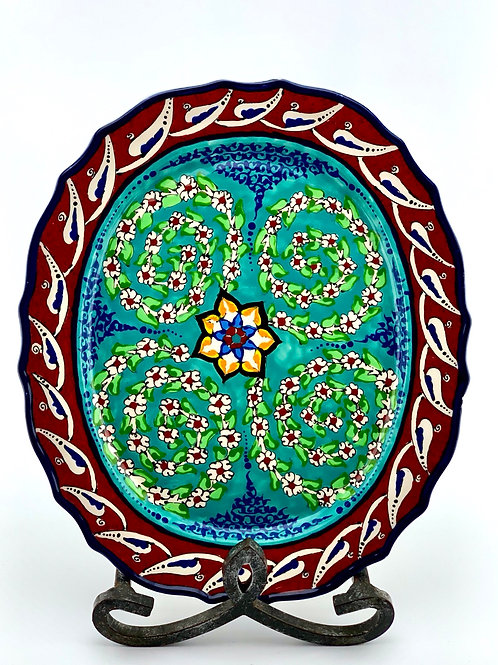 Tree of life designed oval plate
