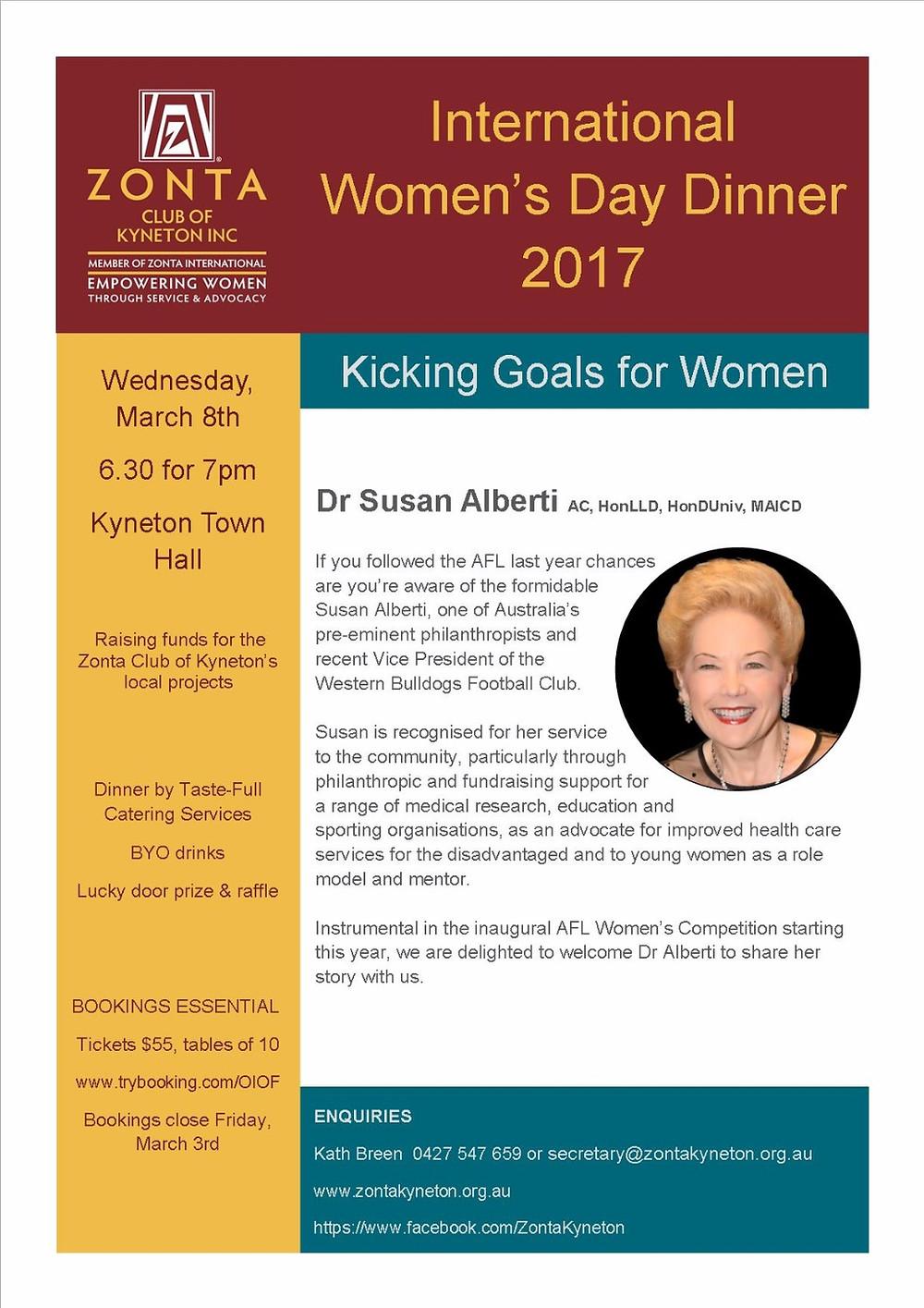 Zonta Club of Kyneton International Women's Day Dinner 2017