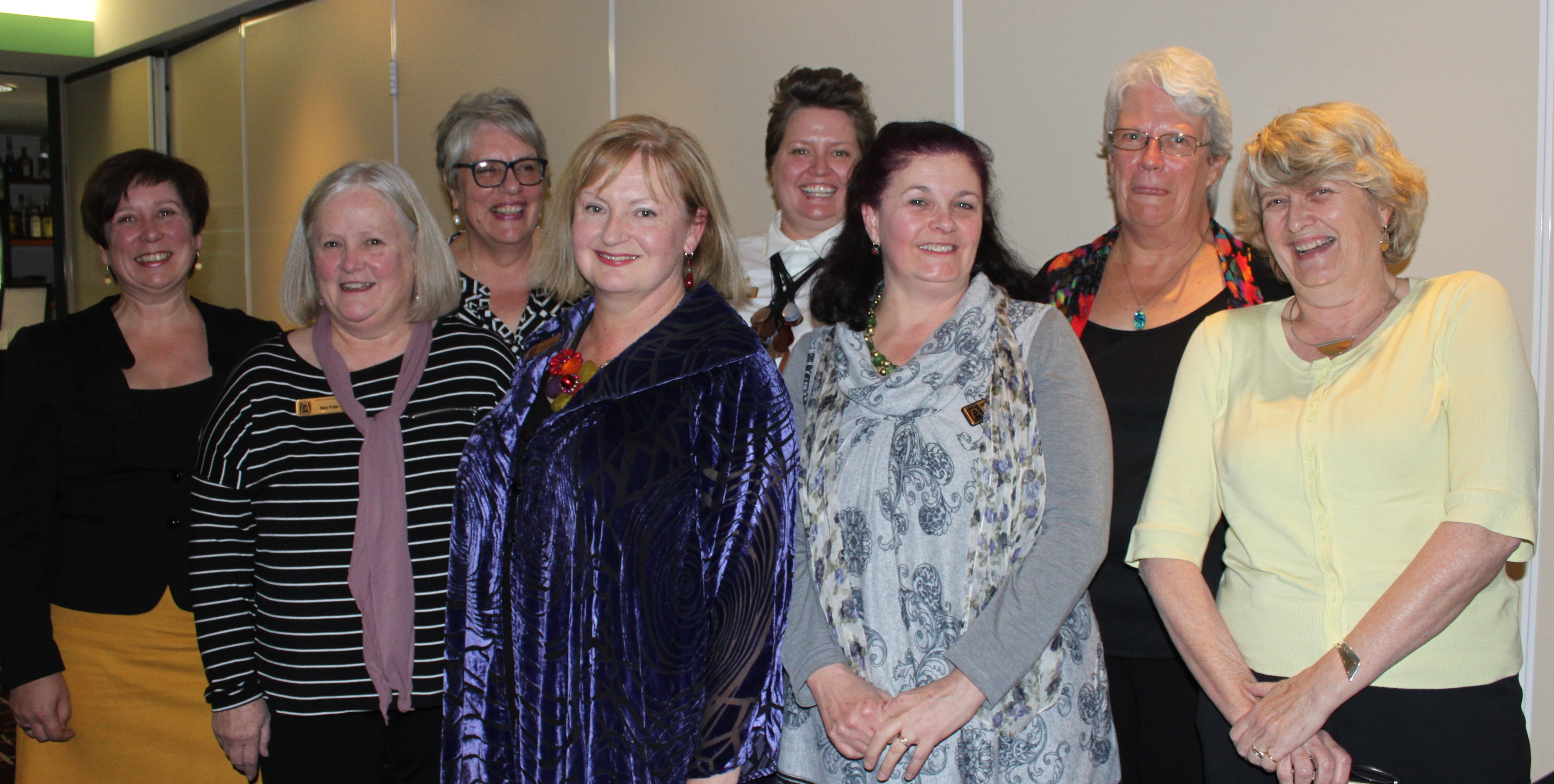 Carolyn Dennis with new Board at Changeover Dinner 25 5 2016