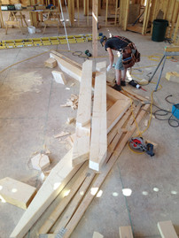 Beginning stages of a custom timber truss