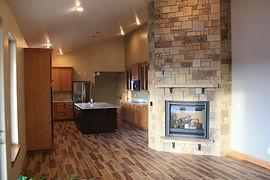 Custom kitchen with masonry fireplace