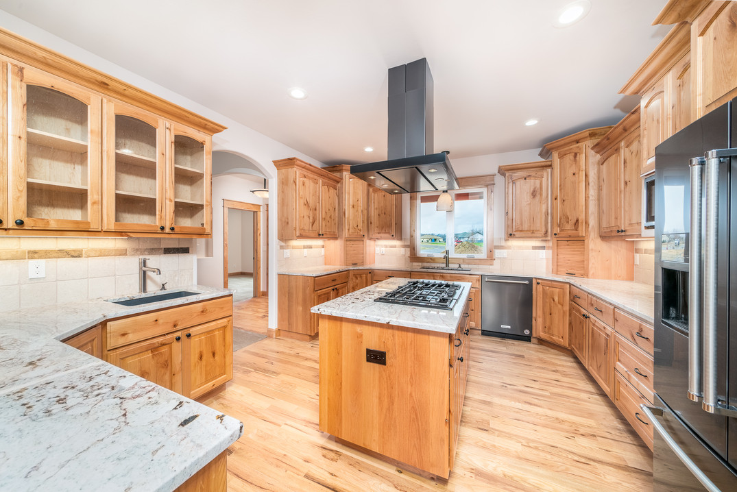 Custom Alder kitchen cabinets featuring