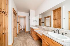 Master bath featuring custom Alder cabin