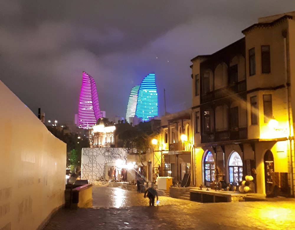 The Flame Towers, lit by thousands of LED lights that constantly change colours, can be seen from all over the city.