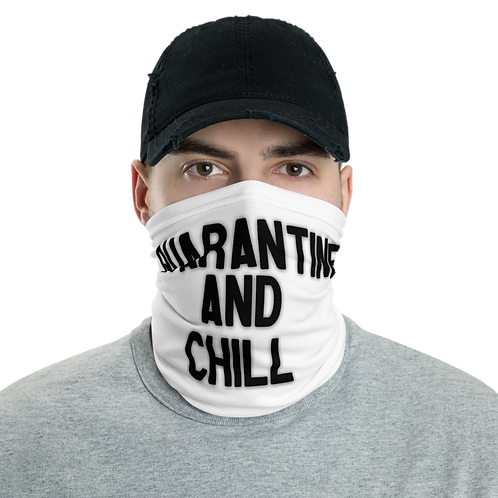 Quarantine and Chill FaceMask (White/Black)