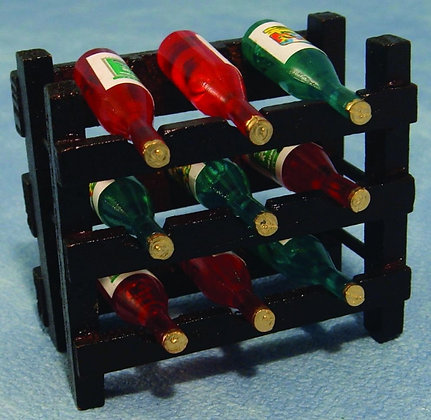 wooden wine rack complete with 9 bottles of wine