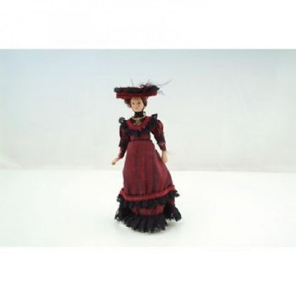 VICTORIAN LADY IN RED  **FREE UK POST**