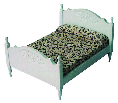 WHITE WOODEN DOUBLE BED  FREE UK POST