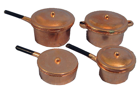 COPPER PANS, SET OF 4. **FREE UK POST**