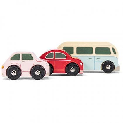 RETRO CAR SET WITH CAMPERVAN & MOTOR CARS  ***FREE UK POST