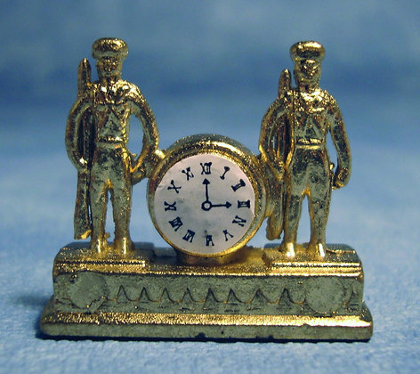BRASS SOLDIERS CLOCK  - FREE UK POST