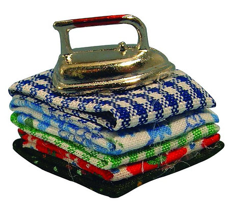 PILE OF IRONING WITH IRON  ***FREE POST