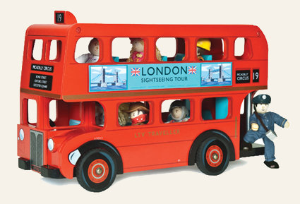 LONDON BUS TRADITIONAL WOODEN TOY GOOD PLAY ROLE  LE TOY VAN