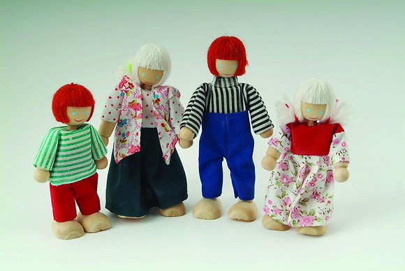 FAMILY OF 4 WOODEN DOLLS