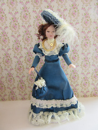 VICTORIAN LADY IN BLUE  **FREE UK POST**