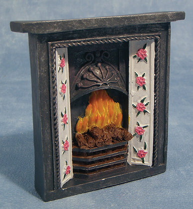 FIRE SURROUND WITH FLAMES SOLID  HEAVY RESIN 12TH SCALE DOLLS HOUSE MINIATURE