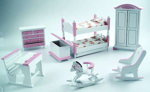PINK AND WHITE WOODEN NURSERY SET