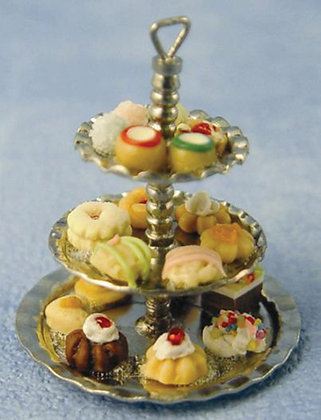 THREE TIER SILVER CAKE STAND WITH CAKES