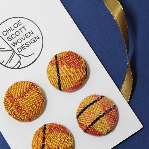 Handwoven Chunky Buttons - Orange Daiquiri