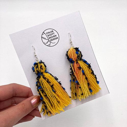 Yellow Funky Hand-dyed Short Tassel Earrings