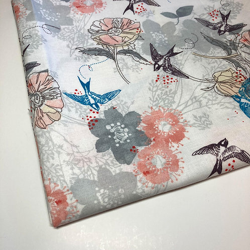 Floral Bird Handmade Cotton Face Covering