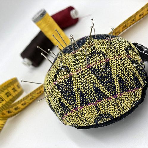 Handwoven Round Pin Cushion - Yellow Dagger