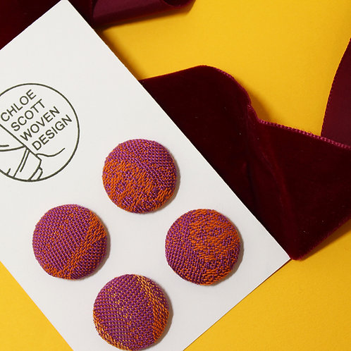 Handwoven Chunky Buttons - Pink Lady