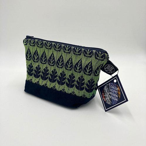 Handwoven Green Foliage Makeup Bag