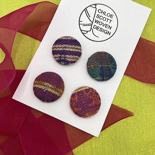 Handwoven Chunky Buttons - Rainbow Paradise