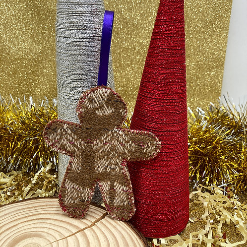 Handwoven Gingerbread Person Decoration - Peacock
